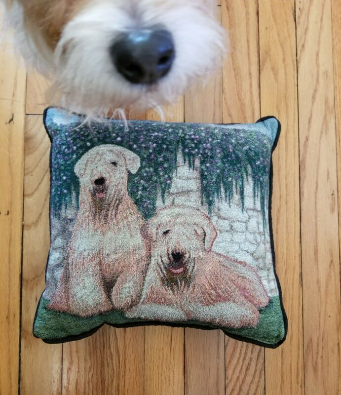 Soft coated Wheaten Terrier Dog tapestry pillow by Golden Horn Creations new