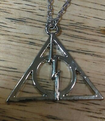 Harry Potter Deathly Halllows Symbol with Lighting Bolt Necklace - Harry Potter Lighting Bolt