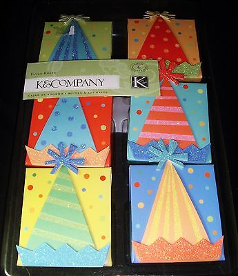 K & Co Party Hat Favor Boxes Set of 6 Gift Wrap Box K & Company Co Party Favor Boxes