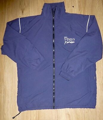 SALE SHARKS RUGBY Navy Blue Tracksuit Top-Players Issued-MEDIUM Embroidered NEW