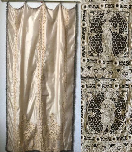 Museum Quality 19c. Gold Crochet Gimp Trim SILK Curtain wi/ Figural Lace Insets