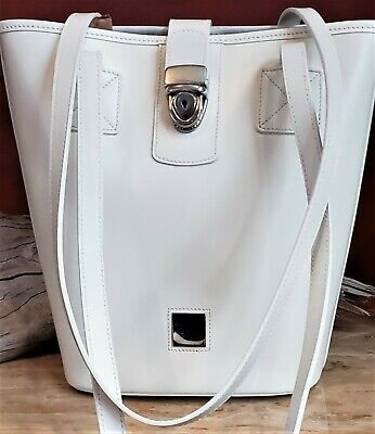 Genuine Dooney Bourke Bucket Shoulder Bag in Soft White Coated Leather EUC