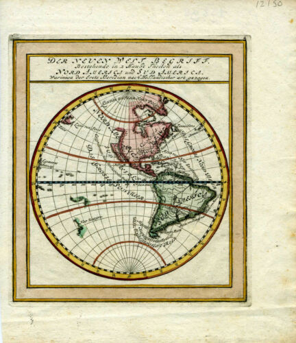 1704 Genuine Antique Western Hemisphere Map of N. & S. America. by G. Bodenehr