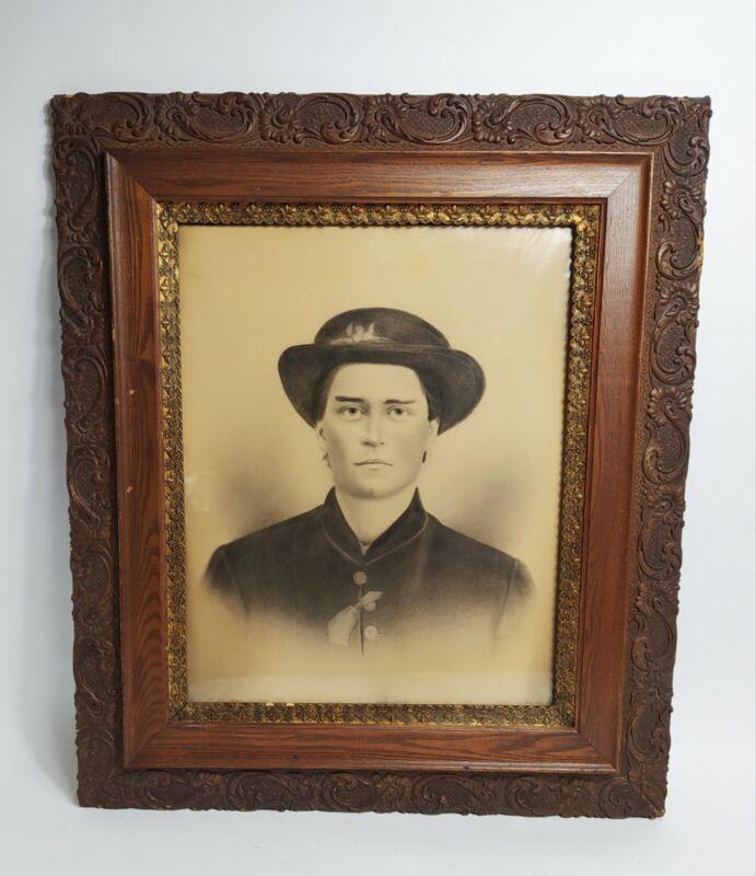 """ANTIQUE CHARCOAL PORTRAIT PICTURE CIVIL WAR SOLDIER 26 x 30"""" ORNATE WOOD FRAME"""