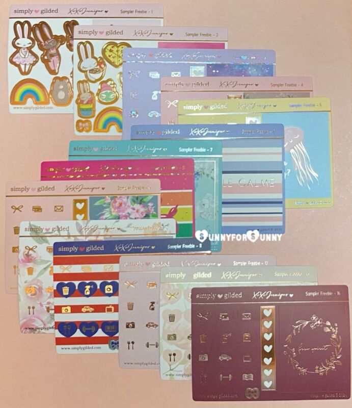 Simply Gilded All the *STICKER SAMPLERS* #1-12, 15, 16 COLLECT