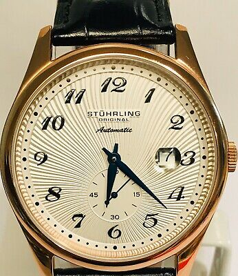 Stuhrling Rose Gold Bezel / White Dial w/Date Automatic Mens Thin Dress Watch