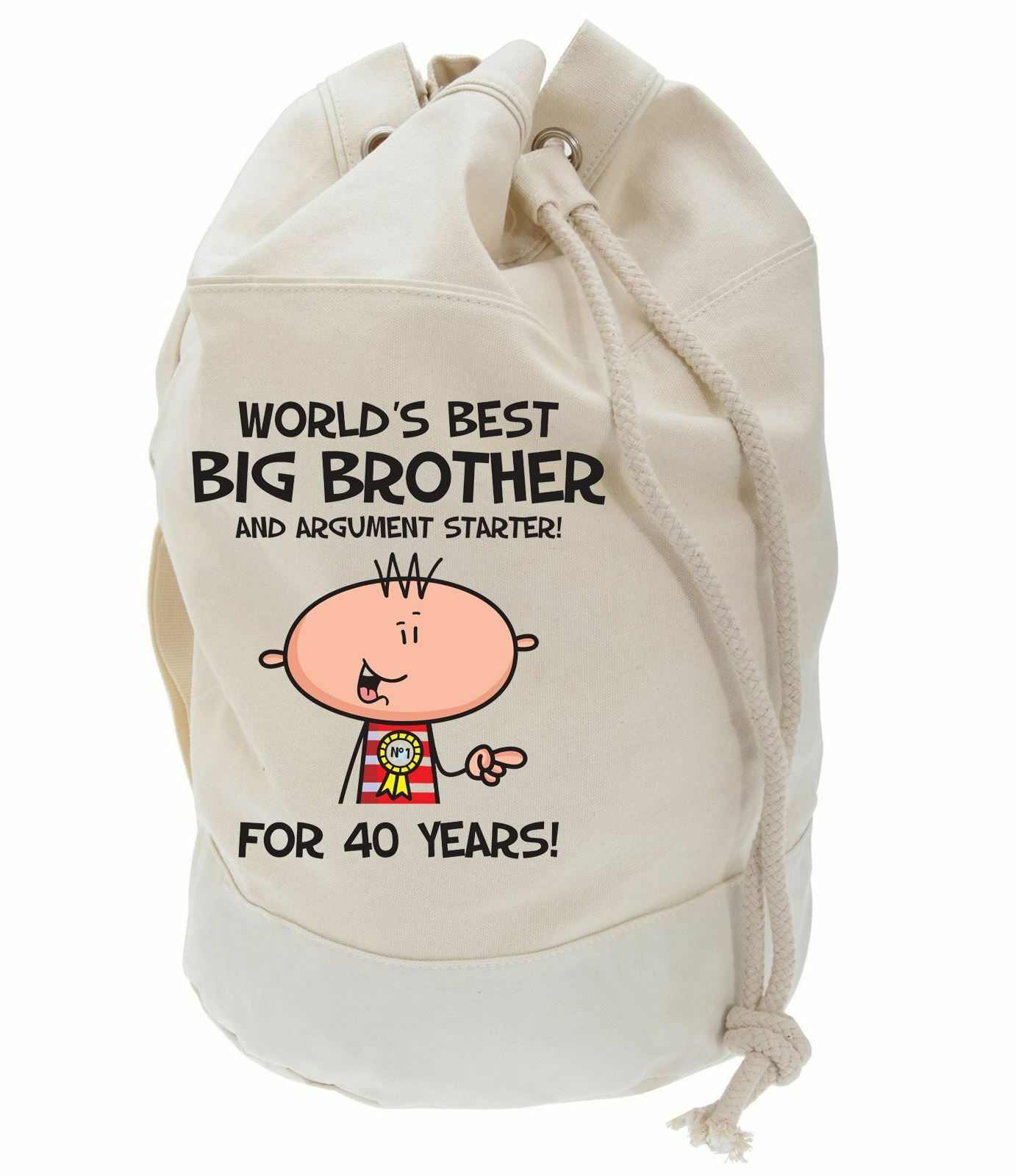 Worlds Best Big Brother 40th Birthday Present Duffle Bag