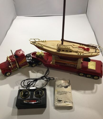 Vintage New Bright Challenger II Sailboat & Wired RC Truck & Trailer