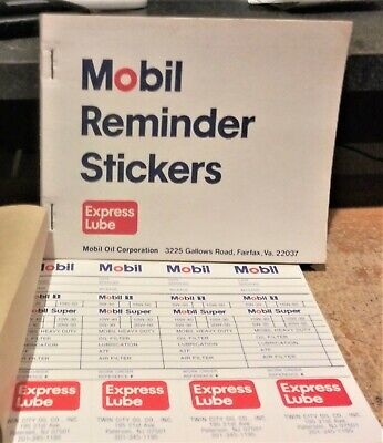 VINTAGE MOBIL REMINDER STICKERS FULL BOOK (96 STICKERS) NOS / NEW