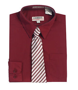 Gioberti Boys Long Sleeve Dress Shirt & Stripe Tie Set (Sizes 2-18)