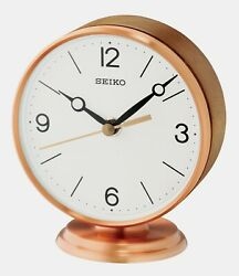 NEW SEIKO DESK/TABLE CLOCK (ROSE GOLD  ALUMINUM AND WOOD)  QXG150PLH