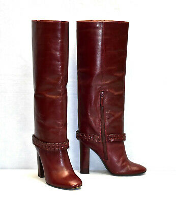 C0 Auth TORY BURCH Sarava Red Agate Leather Knee High Boot Shoes Size 8 M $750
