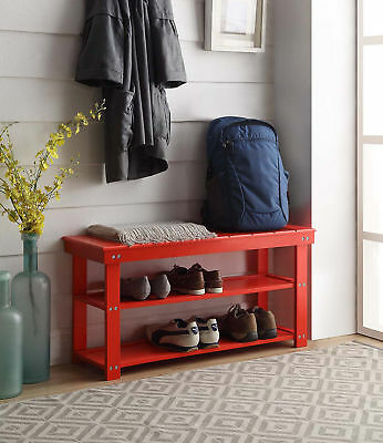 Mudroom Bench - Oxford Utility Mudroom Bench 203300R, Red Finish