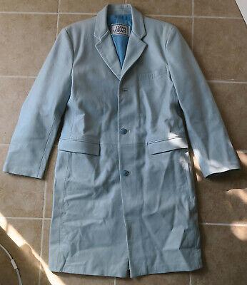 Gianni Versace Long Jacket Light Blue Leather sz 38-40