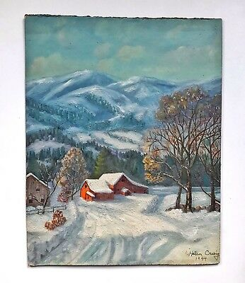 A Vintage Canadian Winter Scene Oil Painting Signed H  Craig B  1910   D 1944