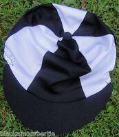 Lycra Riding Hat Silk Skull Cap Cover Black & White With Or W/o Pompom - affordable horseware - ebay.co.uk