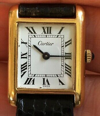 Vintage Cartier Gold Plated Women's Tank Solo Watch G.20 genuine lizard strap