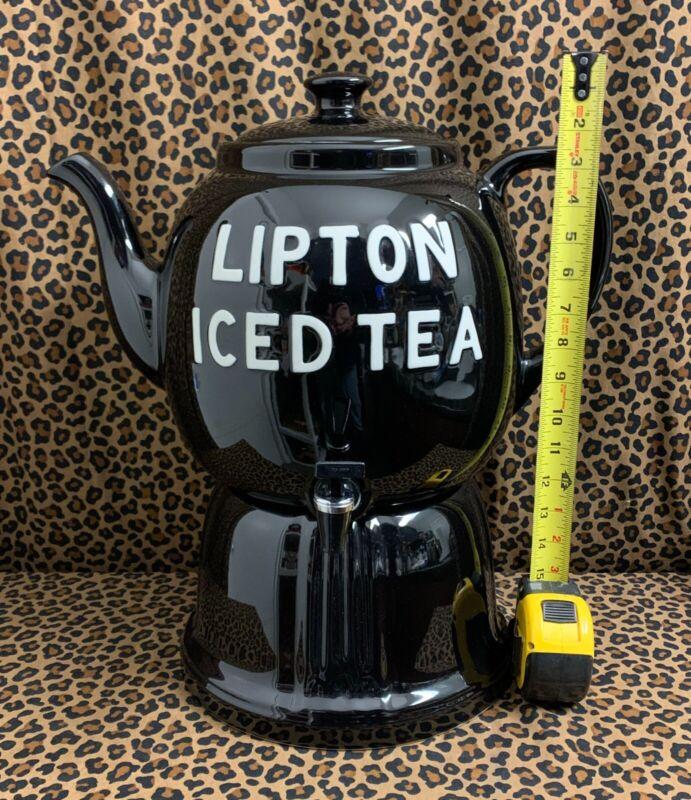 Vintage Lipton Iced Tea Restaurant Dispenser BIG on Stand HALL CHINA USA Teapot