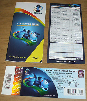 Rugby League World Cup 2013 ticket s/f double header at Wembley