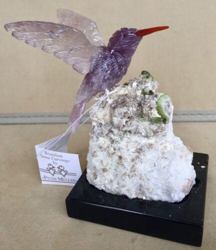 "Amethyst Hummingbird  on Tourmaline in Albite 4 1/4 """" -Peter Muller"