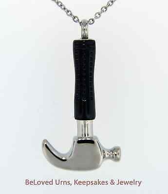 Hammer Cremation Jewelry Pendant Keepsake Urn Memorial Chain & Funnel Carpenter