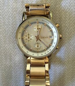 DKNY gold chronograph watch