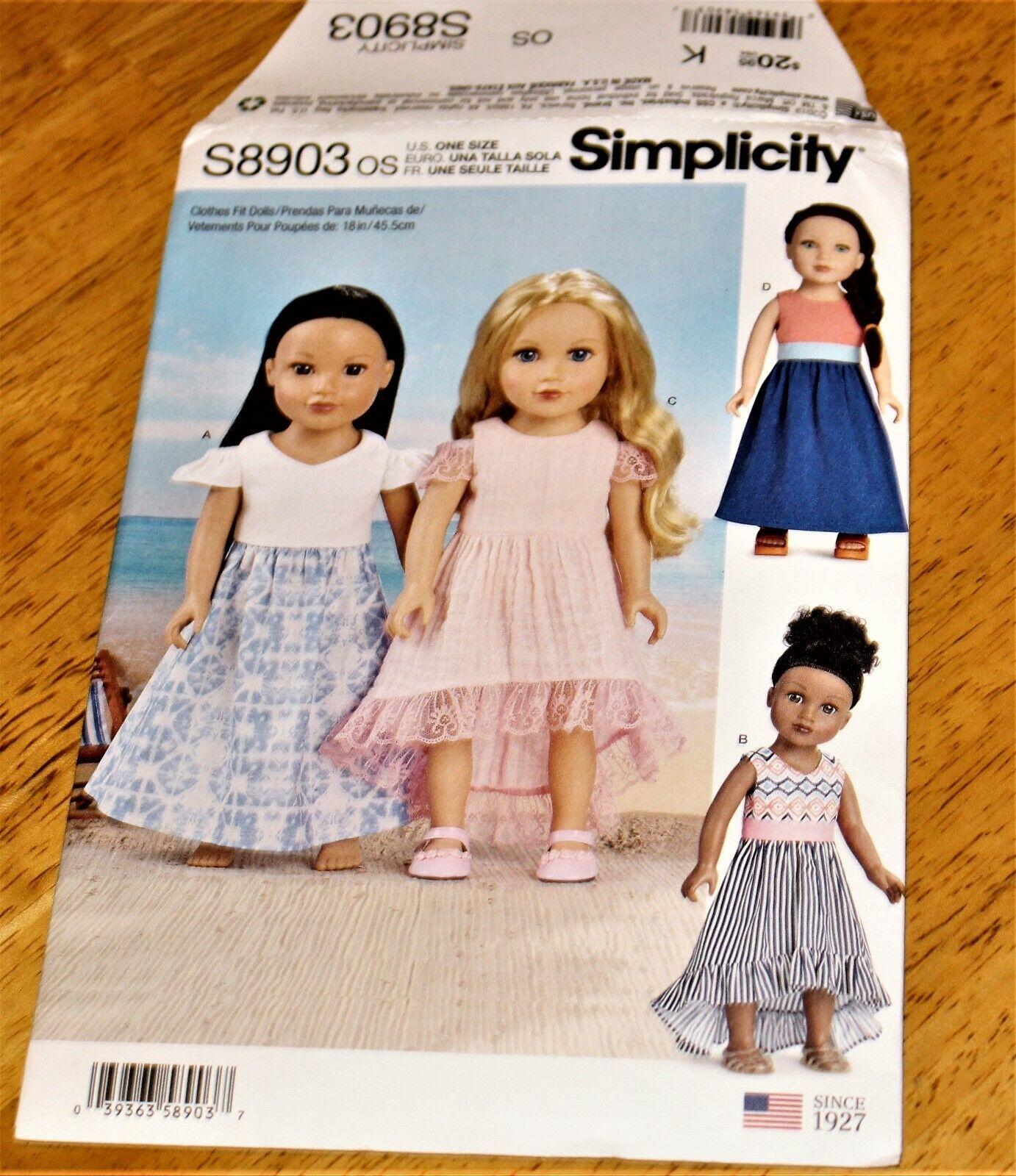 Simplicity Pattern 8903 DRESSES FOR 18 DOLLS - NEW - FOUR DESIGNS - Uncut - $4.49