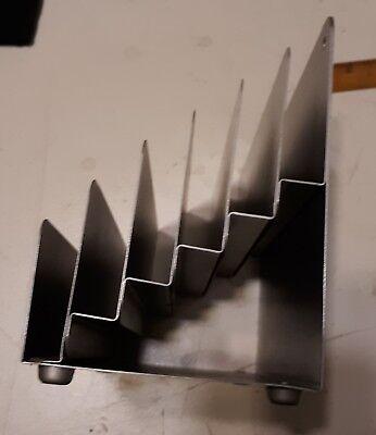 Vintage Gray Metal 6 Slot File Mail Paper File Desk Sorter Organizer Holder
