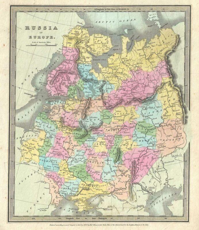 1834 Burr Map of European Russia