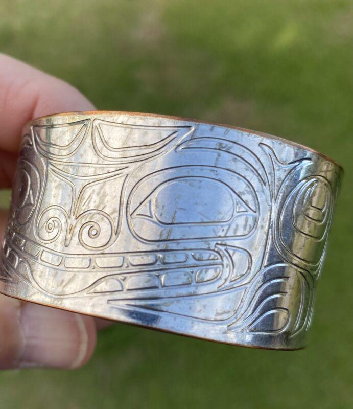 Northwest Coast Silver over Copper Bracelet Signed Corey W. Moraes