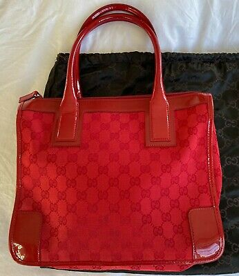 Vintage GUCCI Monogram GG red canvas cloth shoulder bag