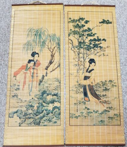 Pair of Vintage Asian Bamboo Scroll Wall Hangings - One Signed - VGVC