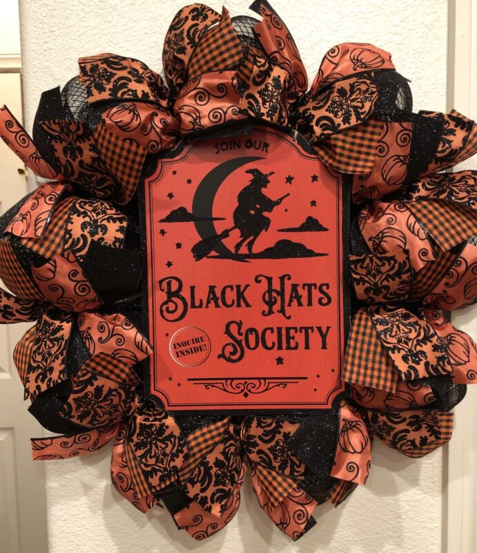 """HALLOWEEN WITCH 🧹 Deco Mesh WREATH """"BLACK HATS SOCIETY"""" 24 x 24 AWESOME!"""