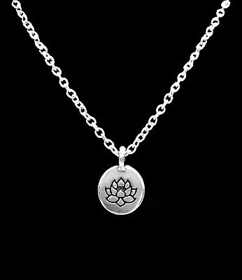 Lotus Necklace Flower Charm Ohm Knowledge Life Peace Karma Tranquility Jewelry Tranquil Lotus Blossom