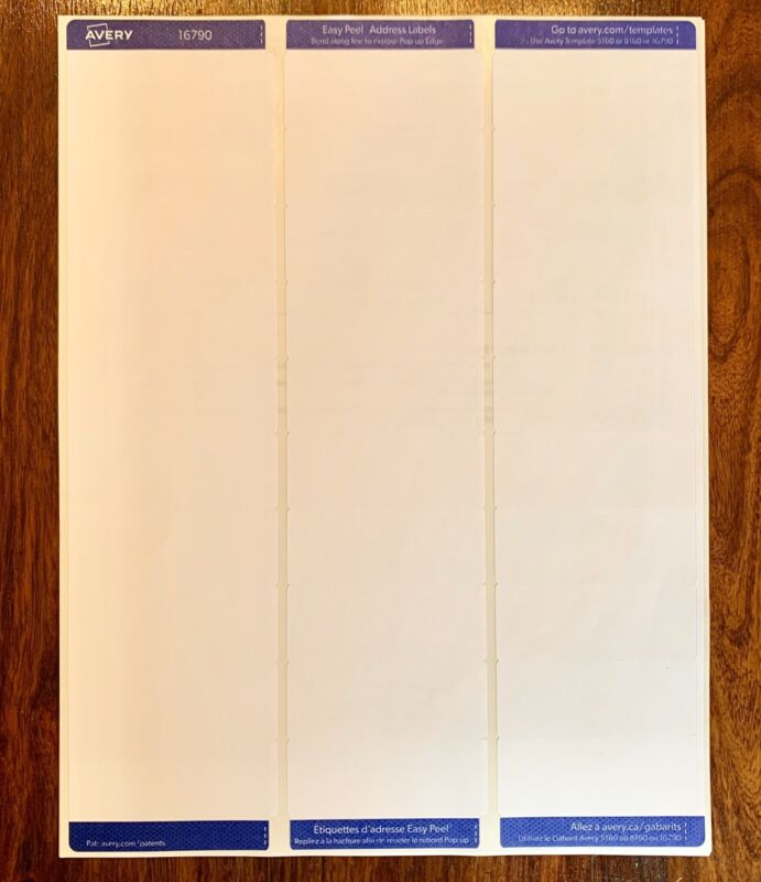 """300 Count of Avery 5160/8160 White Address Mailing Shipping Labels 1"""" x 2 5/8"""""""
