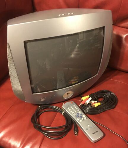 "13"" Philips 13PT30L121 CRT TV Clock, Light, Retro Gaming + REMOTE!Tested  (#188)"