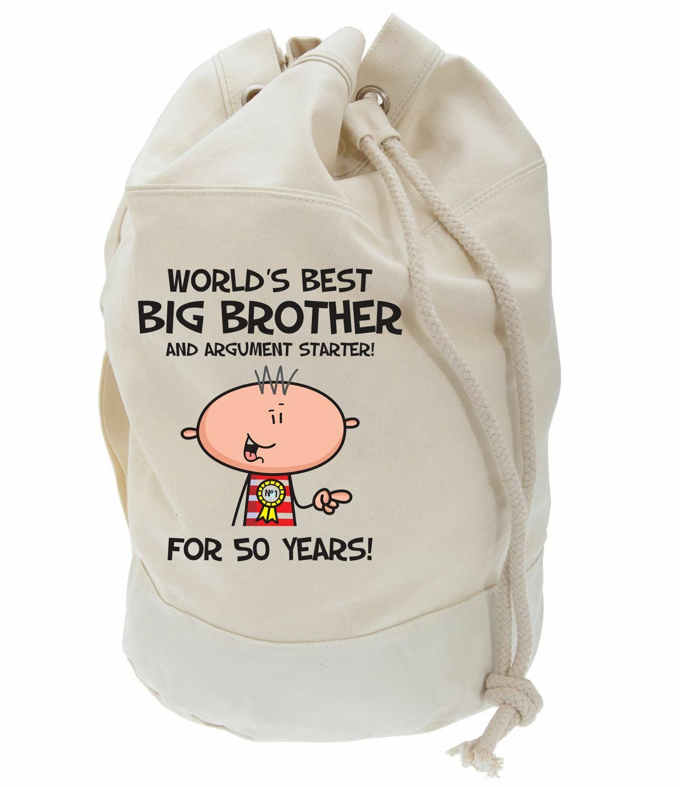 Worlds Best Big Brother 50th Birthday Present Duffle Bag