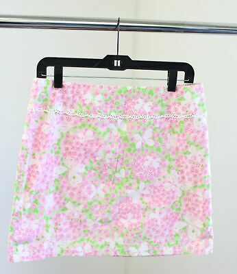 Vtg Lilly Pulitzer Pink Green Floral Butterfly Print Lace Trim Skirt Size 8 Butterfly Lace Skirt