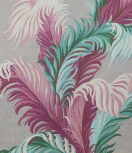 Vintage Plume Palm Leaf Barkcloth Fabric ~
