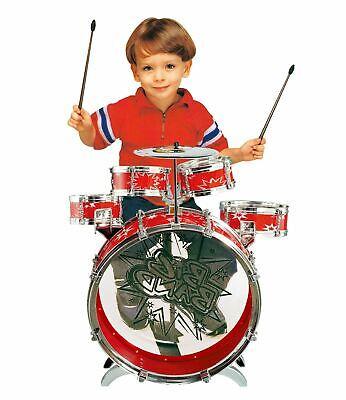 Vinsani Kids Junior Red Drum Kit Playset Musical Instrument Percussion Toy