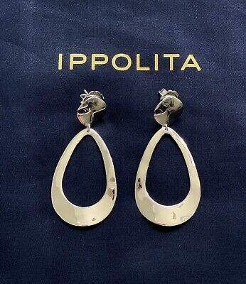 Ippolita Classico Silver Wavy Goddess Earrings Brand New Without Tags