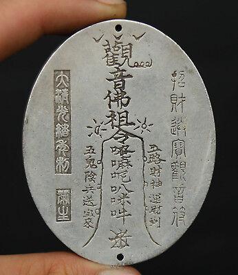 """2.8/"""" Chinese Miao Silver Buddhism Kwan-yin Guan Yin Boddhisattva Amulet Pendant"""