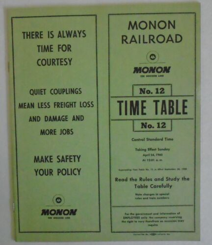 Monon Railroad 1960 Employee Timetable