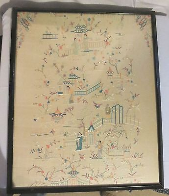 Vtg Antique Large Framed Asian Japan Hand Embroidery Silk on Silk Garden Sampler