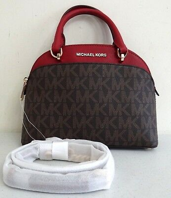Michael Kors EMMY Small Dome Satchel Brown Cherry MK Signature Crossbody Handbag
