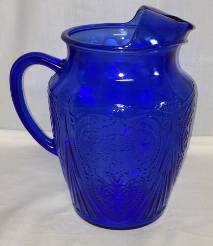 "Hazel Atlas *ROYAL LACE BLUE* 8 1/2"" - 96 oz* PITCHER w/ ICE LIP*"