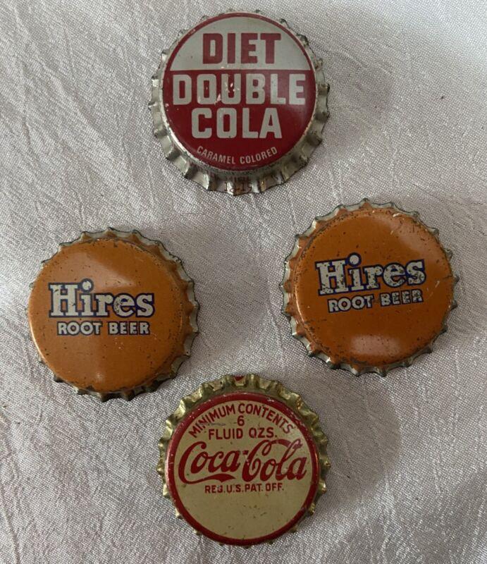 4 Vintage Soda Pop Bottle Caps Coca Cola 6oz Hires Root Beer Diet Double Soda