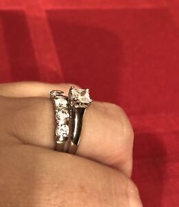 10K white gold engagement rings with cubic zirconias