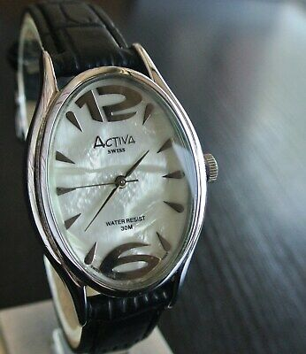 VINTAGE SWISS ACTIVA INVICTA CLASSIC PEARL DIAL QUARTZ SILVER BLK LEATHER WATCH