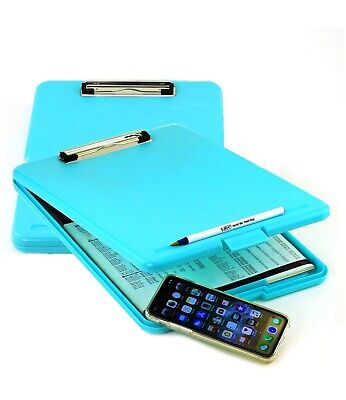 2pk Blue Teal Storage Office Nursing Clipboard Case Document Letter Size Holder
